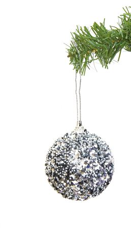 grungy ornament hanging on a christmas tree Stok Fotoğraf