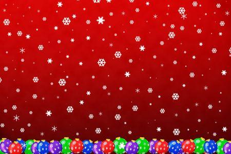 sneeuw op kerst versieringen met rode achtergrond