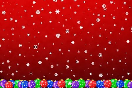 greeting season: snow falling on christmas ornaments with red background