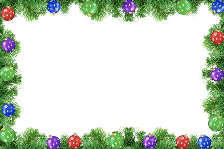 Pine tree frame with ornaments isolated on a white background Stock Photo