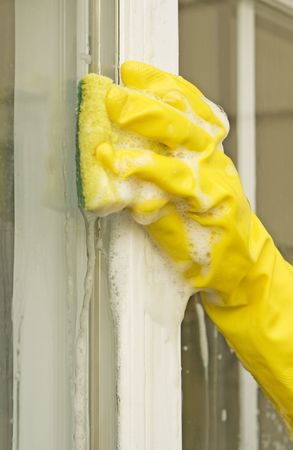 woman cleaning glass with a sponge