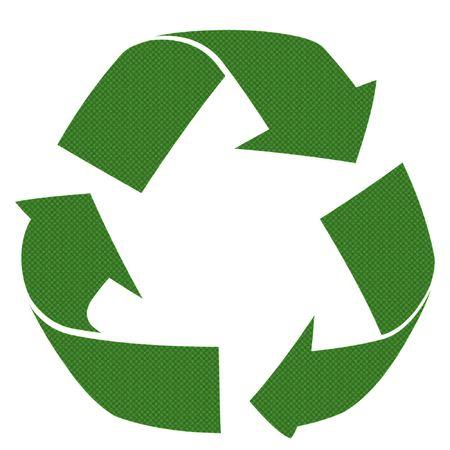 logo recyclage: Recycler le mod�le 3d symbole isol� contre un fond blanc Banque d'images