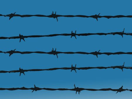 Barbed wire isolated against blue sky background