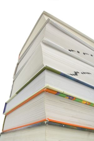 Bottom view of stacked books isolated against white background