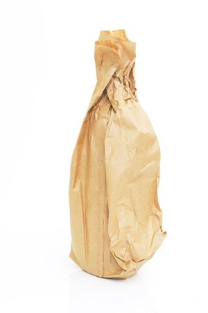 brown paper bag with a bottle isolated against white background
