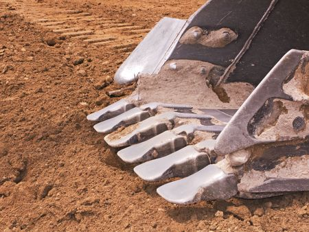 close up of a big bulldozer scoop Stock Photo