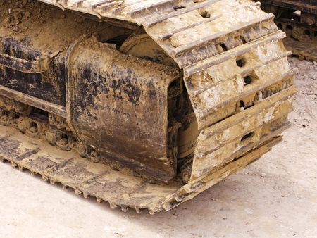 close up of a bulldozer track