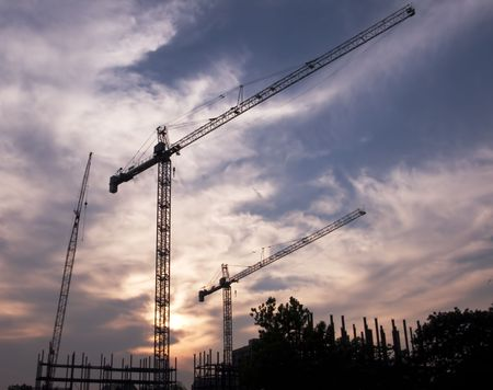 construction site with beautiful sunset background