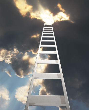 abstract of a ladder extending to a dramatic clouds photo