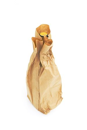brown: brown paper bag with bottle of wine isolated against white background Stock Photo