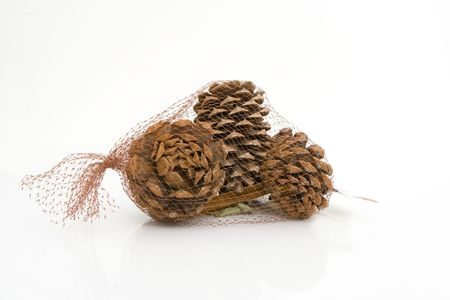 pine cones in a bag ready to sell Stock Photo