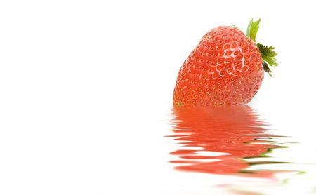 red strawberry isolated against white background