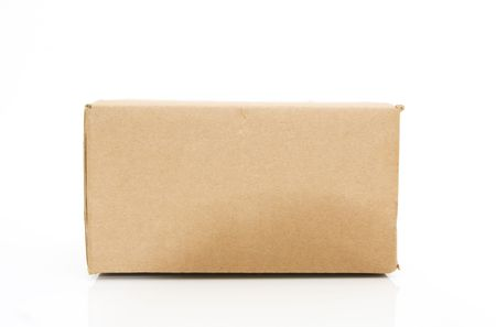 side view of a cardboard box isolated against white background Stock Photo