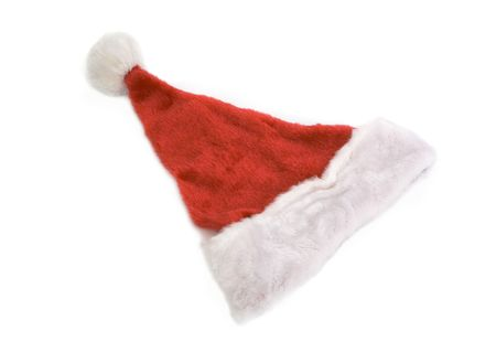 top view of santa claus hat isolated against white background