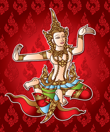 Dance thai fairy angel with ancient background Illustration