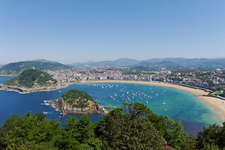 La Concha Beach from Mount Igeldo. Donostia-San Sebastian. Basque Country. Gipuzkoa. SPAIN.