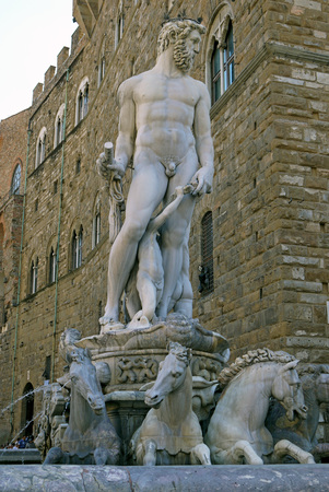 neptune: Fountain of Neptune, Florence. ITALY.