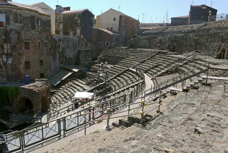 catania: Roman amphitheater Catania, Sicily. ITALY.
