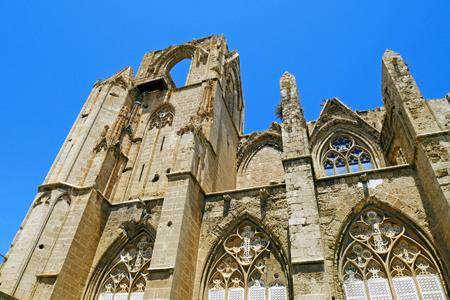 saint nicolas: Lala Mustafa Pasha Mosque (formerly St. Nicholas Cathedral), Famagusta, Cyprus. Stock Photo