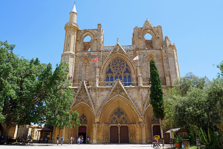 Lala Mustafa Pasha Mosque (formerly St. Nicholas Cathedral), Famagusta, Cyprus. Editorial
