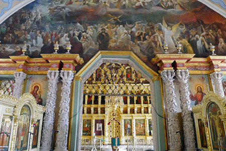The iconostasis in the interior of the church of St. Sergius, Trinity-Sergius Lavra, Sergiev Posad