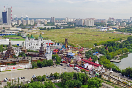 Aerial view of Izmailovo Kremlin in Moscow, Russia.