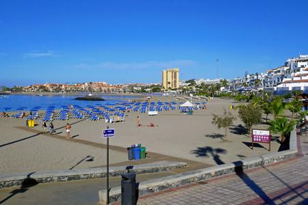 Het Vistas-strand in Tenerife, Canarische eilanden. SPANJE