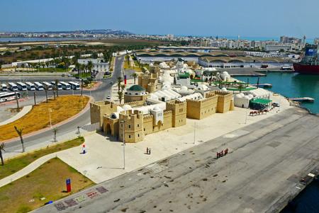 La Goulette cruise port terminal, TUNISIA. Reklamní fotografie