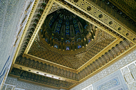 Interior of Mausoleum of Mohammed V, front of the Hassan Tower in Rabat, Morocco.