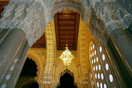 Interior of Hassan II Mosque in Casablanca, Morocco.