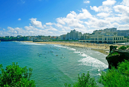 Grande Plage beach in Biarritz, France. Banque d'images - 119179873