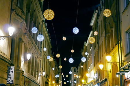Street of luxembourg with Christmas decoration.