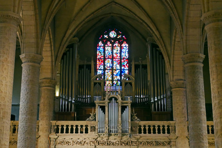 Interior Notre-Dame Cathedral of Luxembourg. Editorial