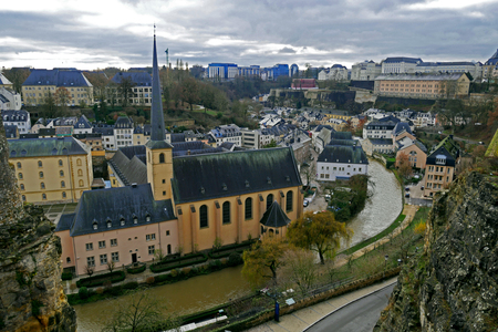 Luxembourg City view from Le Chemin de la Corniche or