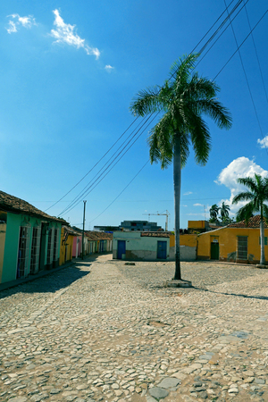 Colorful traditional houses in the colonial town of Trinidad in Cuba.