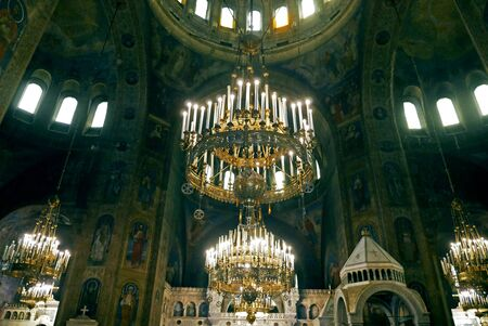 Interior of St. Alexander Nevsky Cathedral in Sofia, Bulgaria.