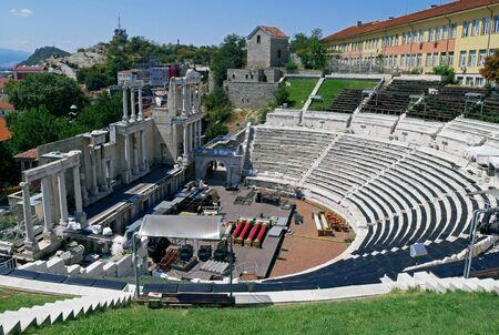Roman theatre of Philippopolis in Plovdiv, Bulgaria. Capital of Culture in 2019. Stock Photo