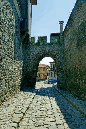 Hisar Kapia - Ancient gate in Plovdiv old town, Bulgaria. Plovdiv is the European Capital of Culture 2019.