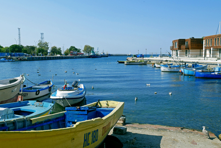 Port of Od town of Nessebar, Burgas Region, Bulgaria. Nessebar UNESCO World Heritage Site in Bulgaria. Редакционное