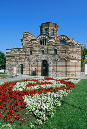 Church of Christ Pantocrator in the old town of Nessebar, Burgas Region, Bulgaria. Nessebar UNESCO World Heritage Site in Bulgaria