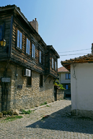 Street in old town of Nessebar, Burgas Region, Bulgaria. Nessebar UNESCO World Heritage Site in Bulgaria. Редакционное