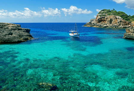 Beautiful view of Cala S'Almunia, Majorca, Balearic islands, Spain