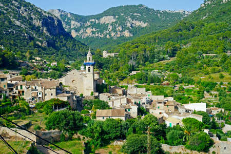 Panoramic view of Valdemossa. Famous old mediterranean village of Majorca Spain.