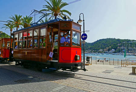 Soller Tramway line driving in Port of Soller, Mallorca, Spain