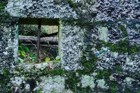 without window: Ruins that stay of an old mill Stock Photo