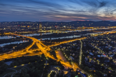 Vienna by Night Night Aerial View at Sunset