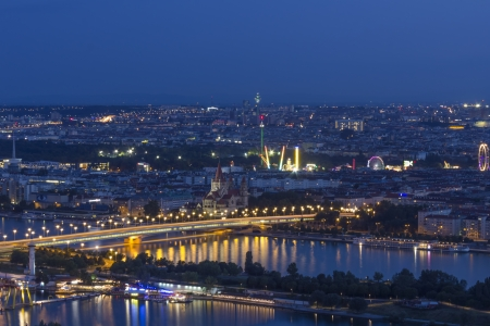 Vienna Aerial View at Night with Prater in the Background photo