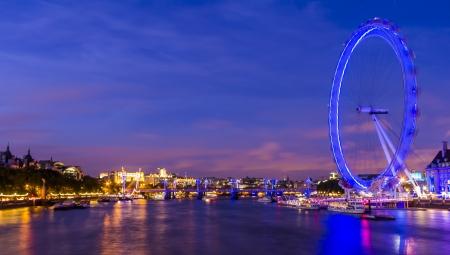 Skyline with London Eye at Sunset