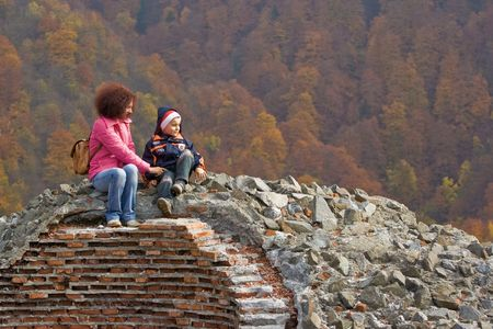 Mother and son contemplating the view from the ruins of Dracula's fortress Stock Photo - 1987137