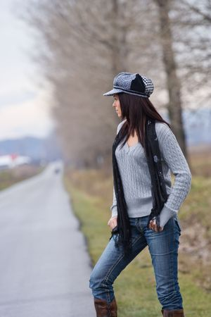 Portrait of a pretty woman outdoor Stock Photo - 2068343